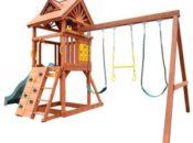 Детские качели из дерева для дачи и сада